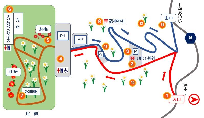 立川水仙郷、案内図